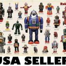 Robots tin toys space toys POSTER 34 x 23.5 with 27 robots from 50s and 60s