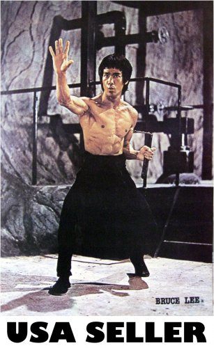 Bruce Lee nunchucks stony grey bkgrnd POSTER 21 x 31 martial arts karate