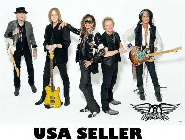 Aerosmith more recent white bkgrnd poster 34 x 23.5 Steven Tyler Joe Perry older