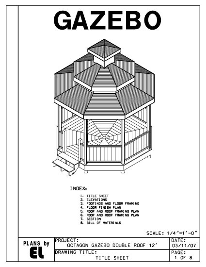 Octagon 8 sided double roof gazebo building plans for Free cupola blueprints