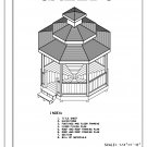 Octagon 8-sided double roof gazebo building plans blueprints 12' do it yourself DIY