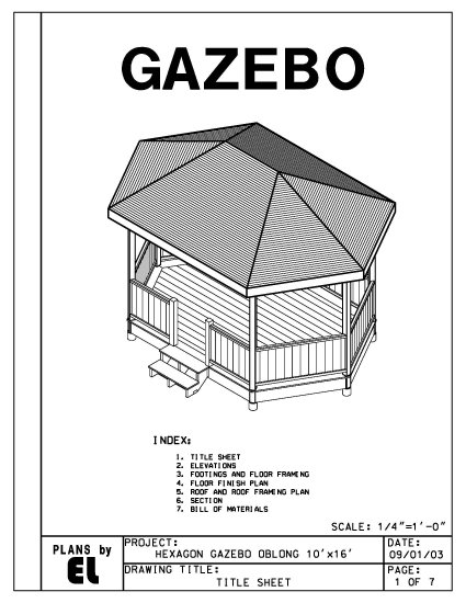 Do It Yourself Building Plans: Hexagon Oblong 6-sided Gazebo Building Plans Blueprints 10