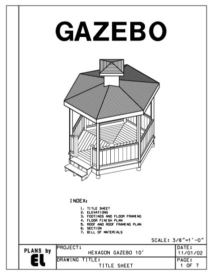 Hexagon 6 sided gazebo building plans blueprints 10 39 do it for Gazebo house plans