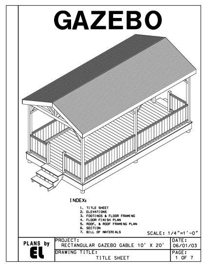 4 sided rectangular gazebo with gable roof building plans for Gazebo floor plans