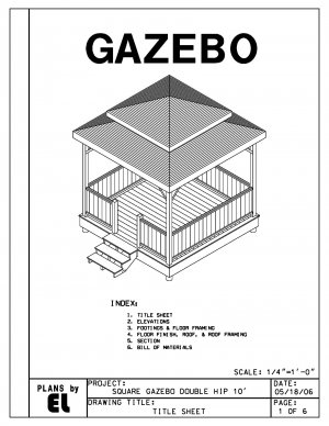 4 sided gazebo double hip roof building plans blueprints for Double hip roof design