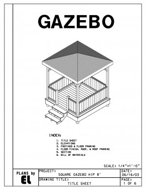 4-sided gazebo Hip Roof building plans blueprints 8' do it yourself DIY