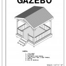 4-sided gazebo Gable roof building plans blueprints 10' do it yourself DIY
