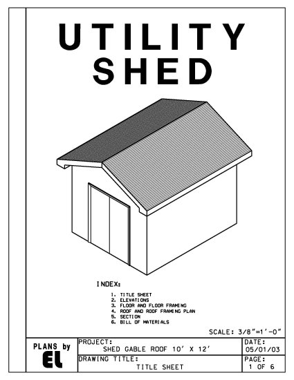 Do It Yourself House Plans: 10' X 12' Shed With Gable Roof Building Plans Blueprints