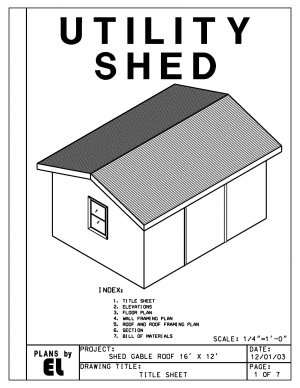 16' x 12' Utility Shed building plans blueprints do it yourself DIY