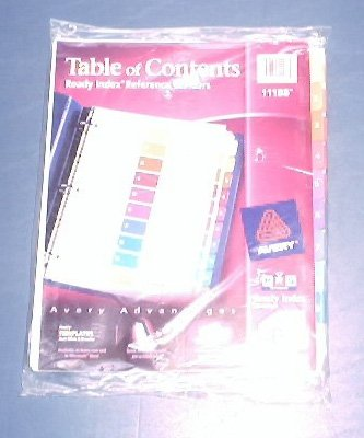 Avery ready index table of contents dividers 11188 10 for Avery table of contents template 10 tab