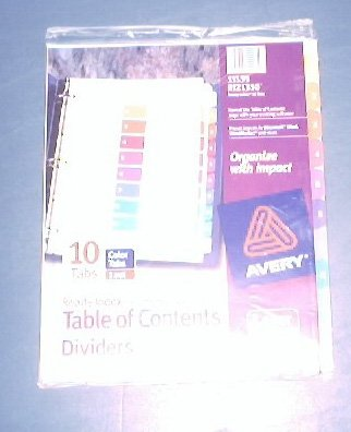 Avery ready index table of contents dividers 11135 10 for Avery table of contents template 10 tab