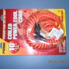 10' coiled power extention cord - new