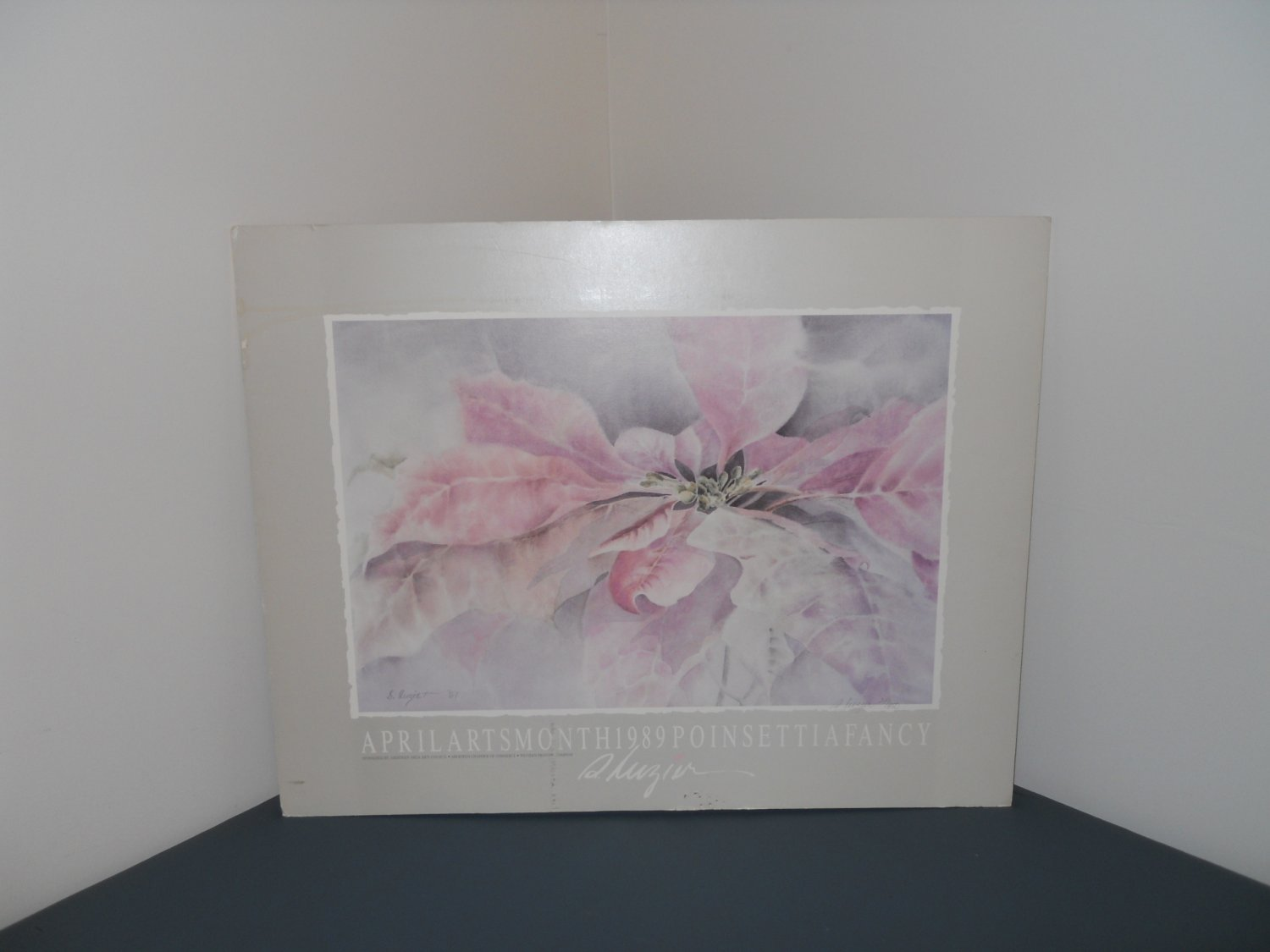 poinsettia art print water-color by S. Luzier - limited print 24/450 autographed - OOP