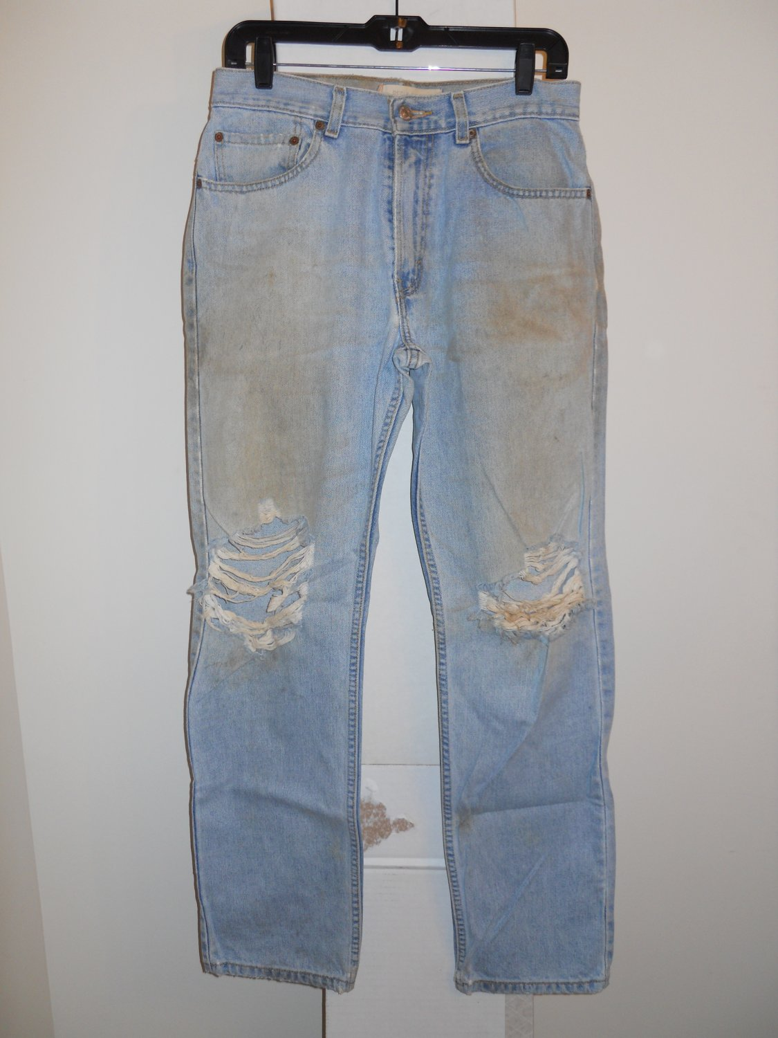 Levi 505 Regular Fit used worn torn stained distressed blue denim jeans men's 32x32