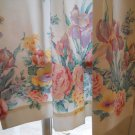 "floral pattern white curtains drapes 36"" long 25"" wide"