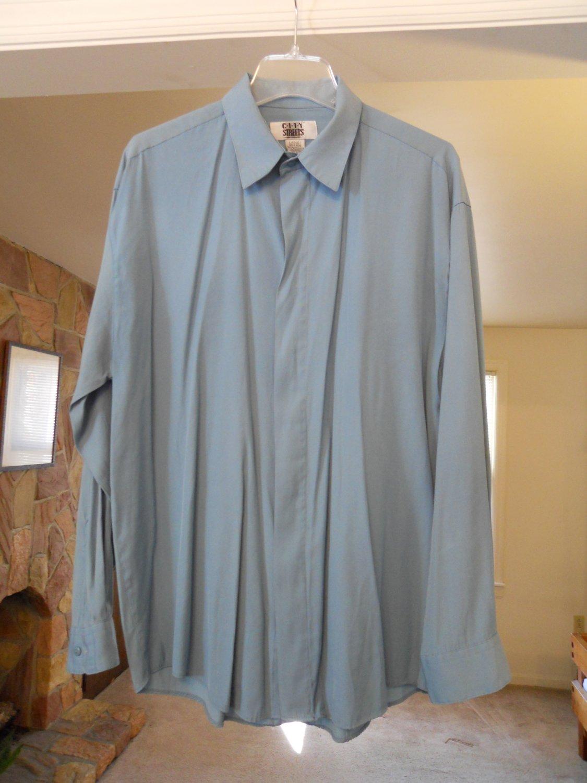 City Street men's dress shirt size L large long sleeve hidden button green