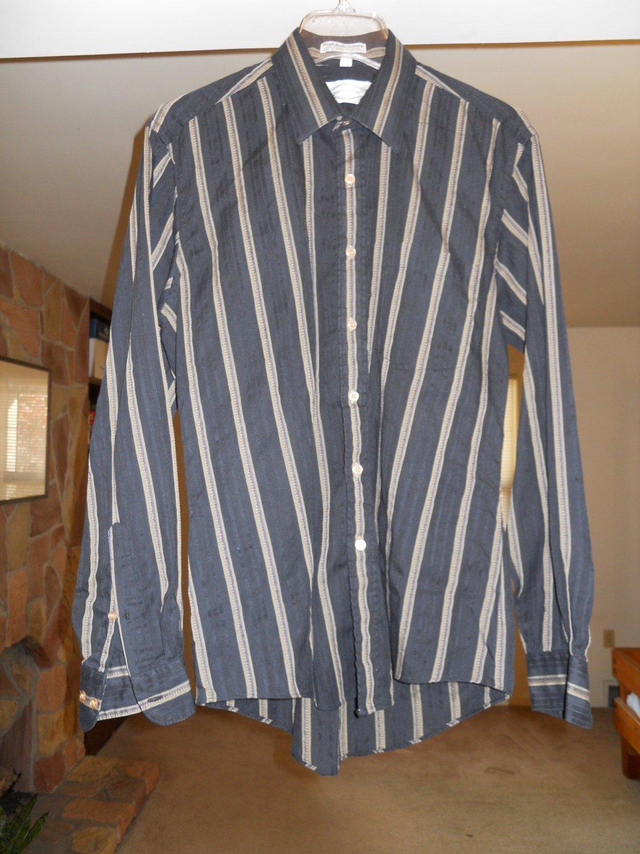 Monte Carlo men's dress shirt size M medium 15 - 15 1/2 long sleeve black/gold