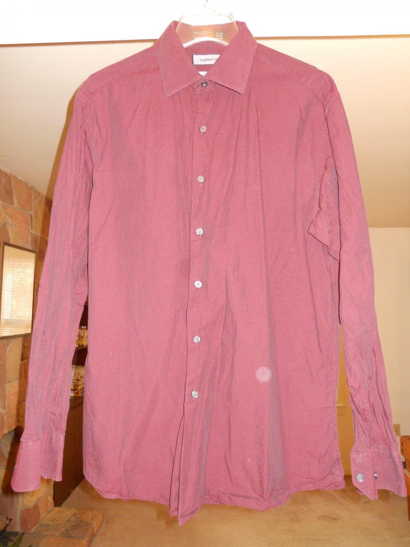 Claiborne men's dress shirt size L 16 1/2 34/35 large long sleeve maroon