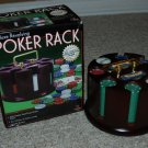 Deluxe Revolving Poker Rack Texas Hold Em 200 chips 2 decks wood rack - new