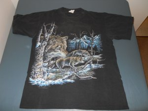 graphic t-shirt mens large black wolves