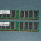 NT256D64S88C0G-5T 256MB Nanya PC3200 400MHz 184 pin NON-ECC UNBUFFERED DDR SDRAM DIMM x2 512MB