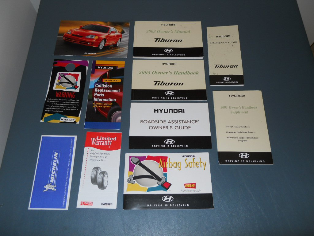 2003 Hyundai Tiburon owner's manual literature