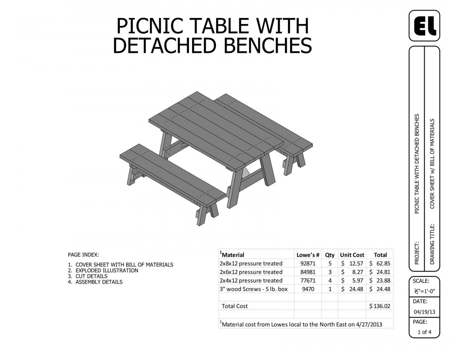 Picnic Table and Benches Building Plans Blueprints DIY Do-It ...
