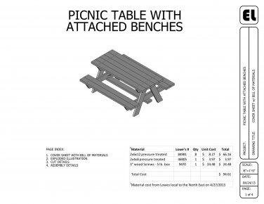 6' Picnic Table Building Plans Blueprints DIY Do-It-Yourself  !GET THEM FOR FREE!