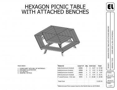 5' Hexagon Picnic Table Building Plans Blueprints DIY Do-It-Yourself !GET THEM FOR FREE!