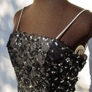 Vintage womens 1980s black beaded sequin drop waist prom dress GLITZY poufy