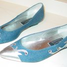 Vintage womens shoes J. Renee denim and silver metallic Size 8M 80s flats