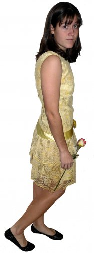 vintage 60s womens girls yellow drop waist confection lace mini dress with satin bow Size 11