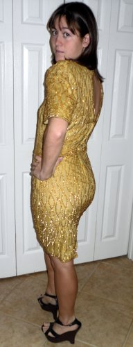 Vintage womens gold sequined 80s silk cocktail dress Stunning Size M