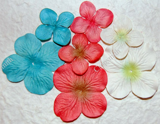 Coral Reef Prima Quick Picks Hydrangeas, Set of 10 Blue, Pink, White Mulberry Paper Flowers