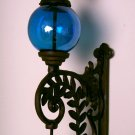 Cast Iron Bell W/ BLUE Glass Gazing Ball