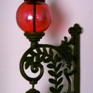 Cast Iron Bell W/ RED Glass Gazing Ball