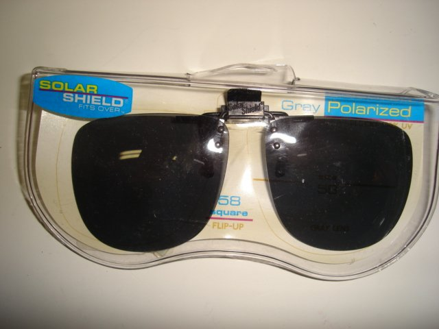 Sunglasses 58 square  Polarized Solar Shield  Flip Ups . NEW