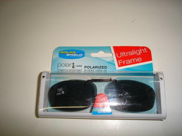 Sunglasses 56 Rec 5 Polarized Solar Shield  Clip Ons.  NEW