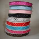3/8 Polka Dot Grosgrain Ribbon 1 yd each color 9 yards total