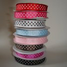 5/8 Polka Dot Grosgrain Ribbon 5 yds U pick colors NEW