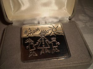 #1 MOM STERLING SILVER PIN