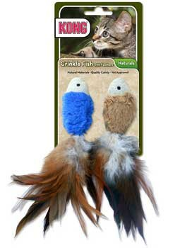 Kong Natural Crinkle Fish With Feathers Cw44