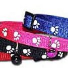 3/8 Reflective Paw Print Cat Collar