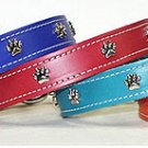 Paw Ornament Lthr Collar - 1/2