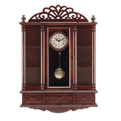 Pendulum Clock And Curio Cabinet 33047