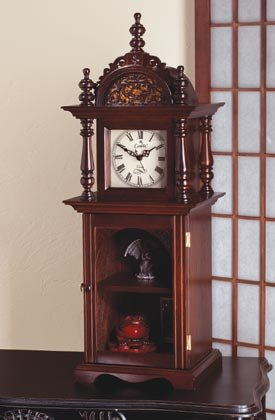 Wood Grandfather Clock With Shelves 35001
