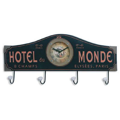 Hotel Du Monde Wall Clock And Coat Rack 35163