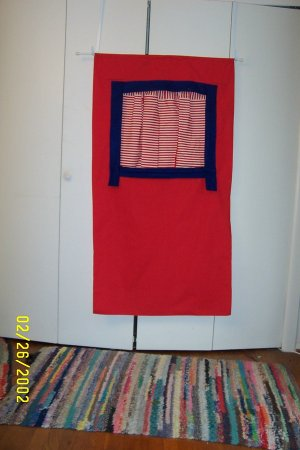 Red Denim Puppet Curtain