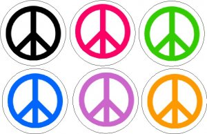 Lot 6 ~ PEACE SIGNS ~ Pinback Buttons