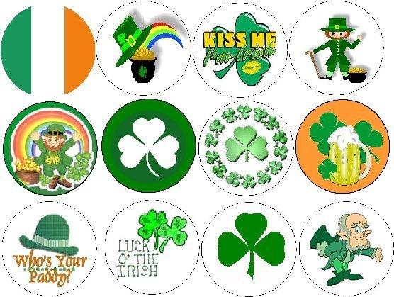 Lot Set 12 ~ Luck of the IRISH ~ Pot of Gold Shamrock Pinback Buttons